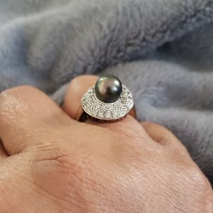Genuine Tahitian Pearl Ring with White Topaz